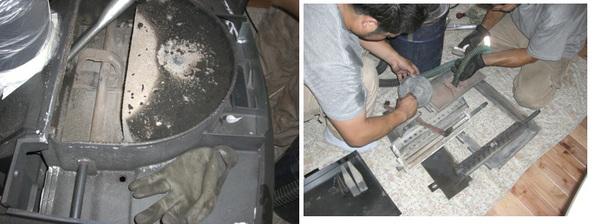 ストーブ本体の点検。ダンパガスケットと触媒のガスケットの交換。